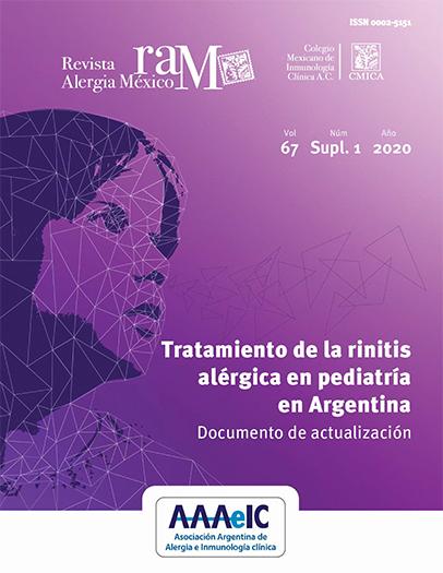 Ver Vol. 67 (2020): Suplemento 1: Tratamiento de la rinitis alérgica en pediatría en Argentina. Documento  de actualización